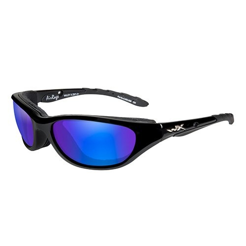 Wiley X AirRage Shooting Glasses with Polarized Blue Mirror Lens and Gloss Black Frame