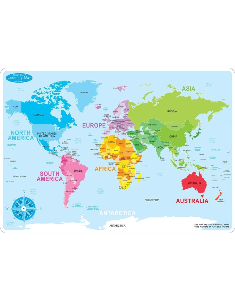 World Map Basic Learning Mat - Castle Toys and Games LLC
