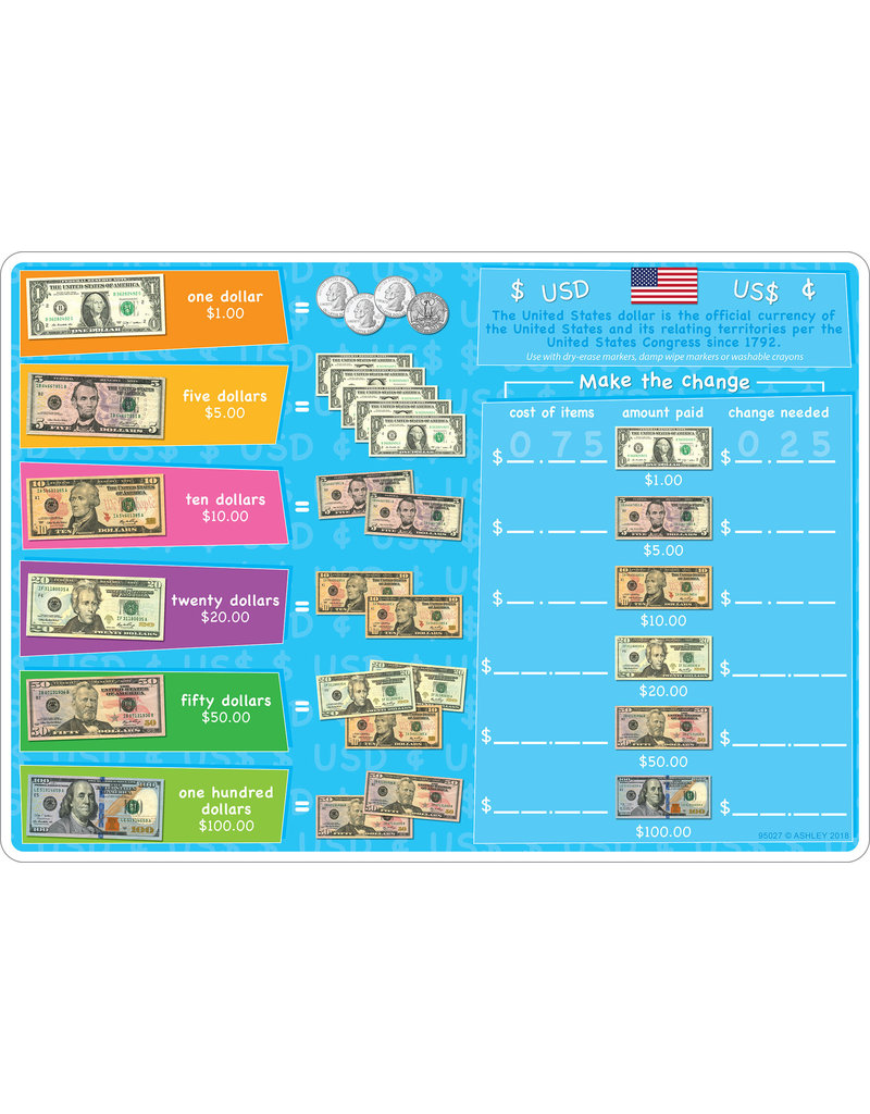 Ashley Productions US Currency Learning Mat