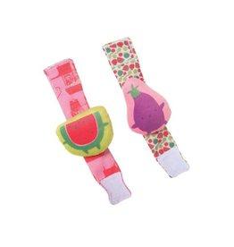 Manhattan Toys Farmer's Market Watermelon & Eggplant Wrist Rattle Set