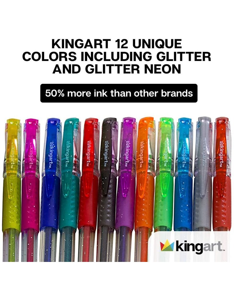 Kingart 12 pc Soft Grip Gel Pen Set