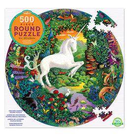 Eeboo Unicorn Garden Round Puzzle 500 pc
