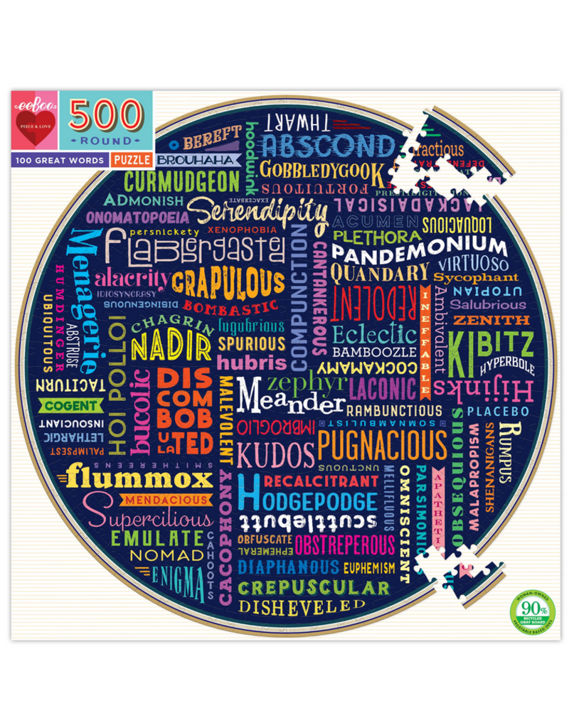 Eeboo 100 Great Words 500 pc Round