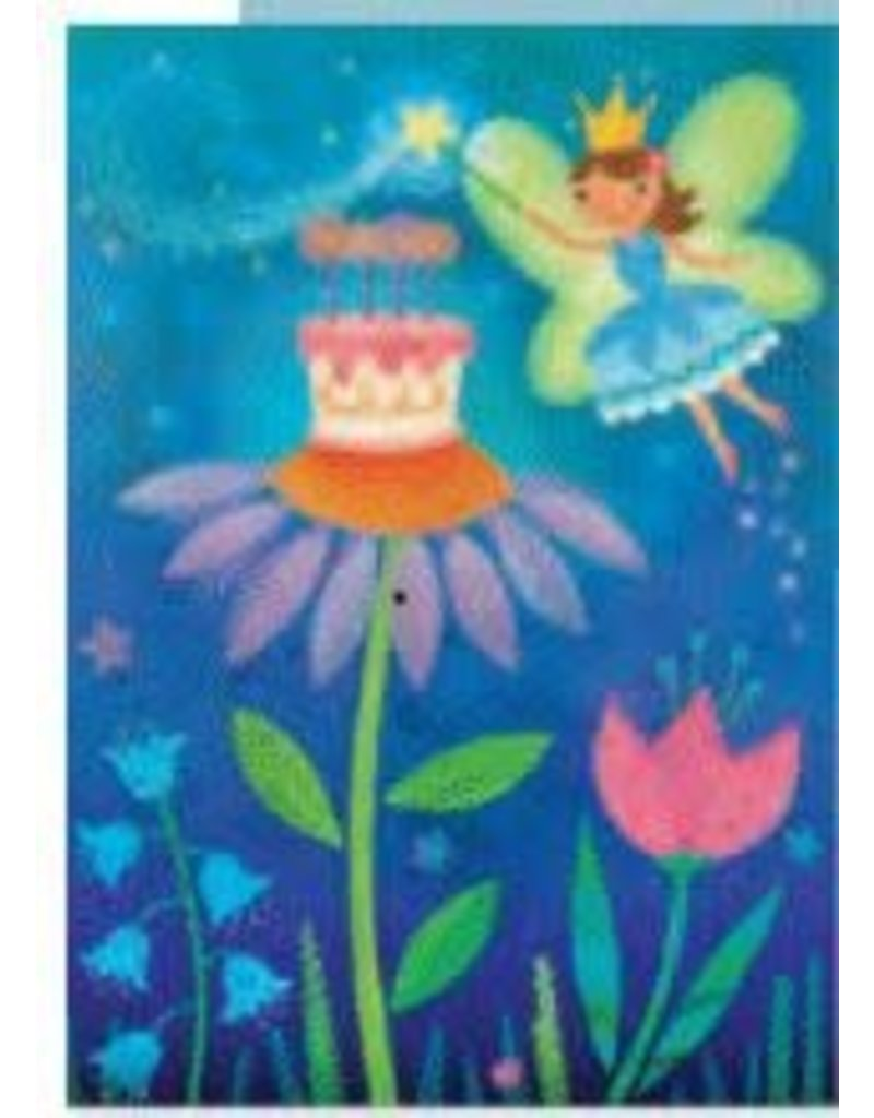 Peaceable Kingdom Fairy w/Cake Glitter Birthday Card