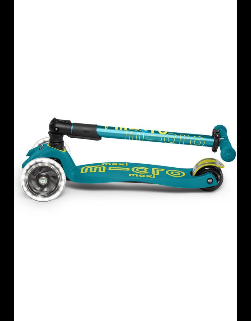 Micro Kickboard LED Foldable Maxi Scooter Petrol Green