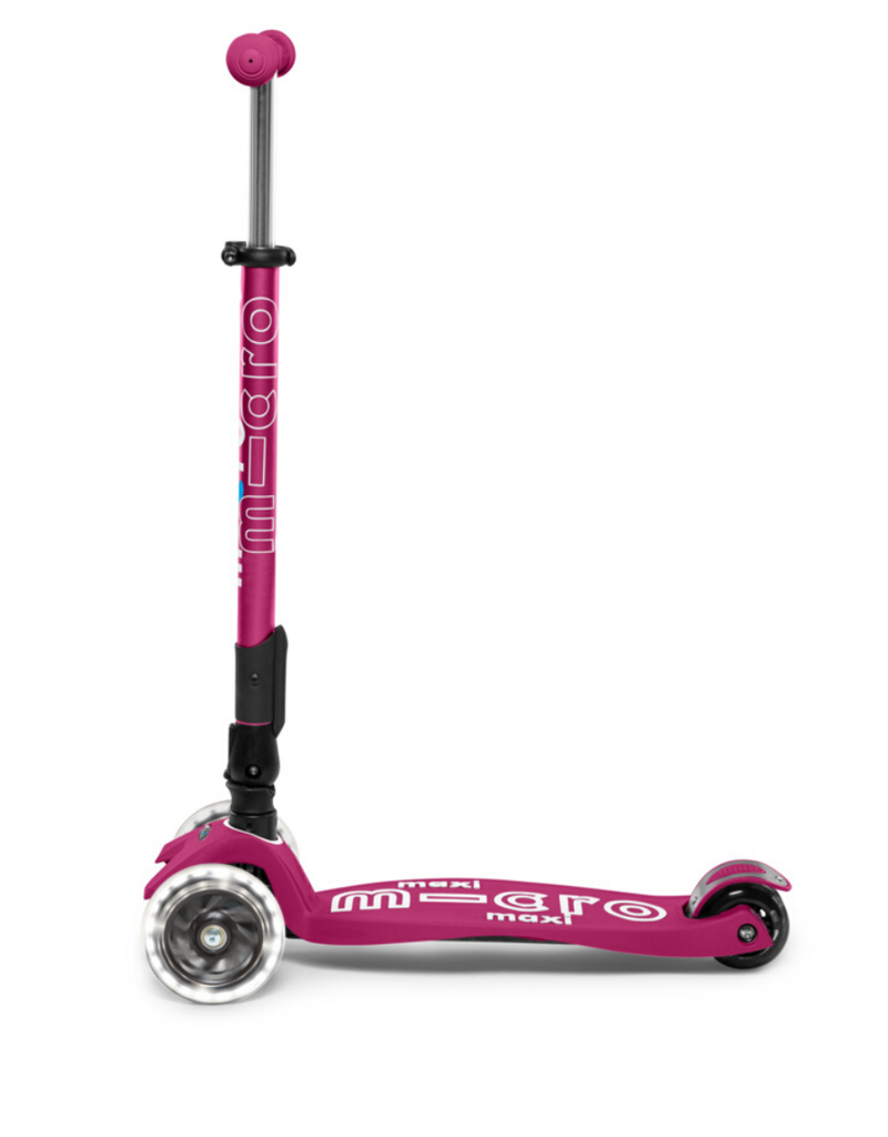 Micro Kickboard LED Foldable Maxi Scooter Berry Red