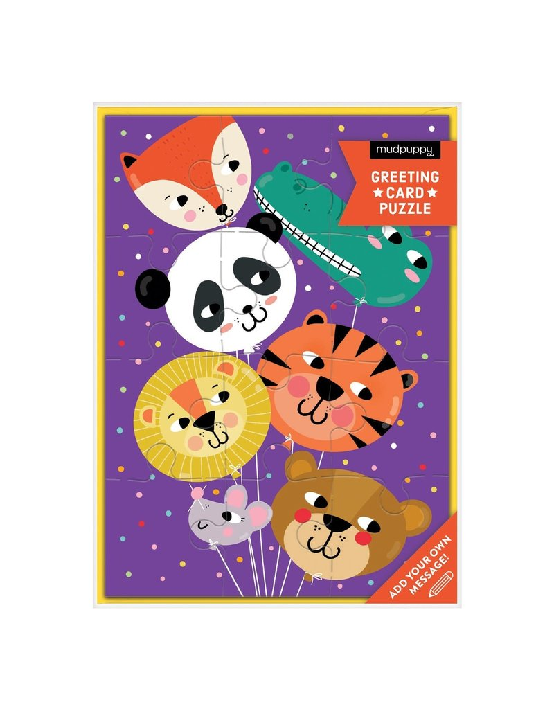 Mudpuppy Animal Balloons Greeting Card Puzzle