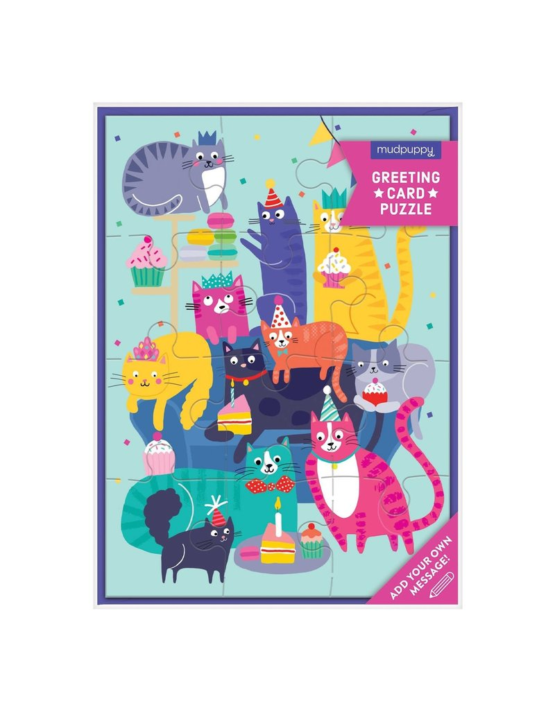 Mudpuppy Cat Party Greeting Card Puzzle