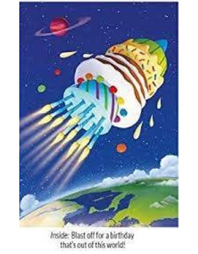 Peaceable Kingdom Blast Off Cake BD Card