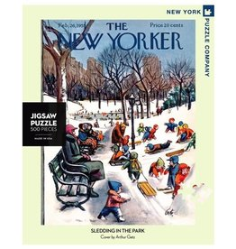 New York Puzzle Co The New Yorker Sledding in the Park 500 pc