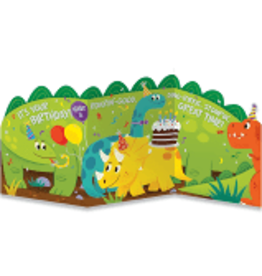 Peaceable Kingdom Dinosaur Tri-Fold Birthday Card
