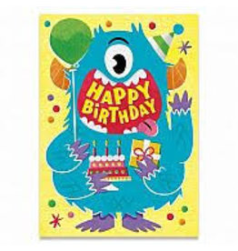 Peaceable Kingdom Blue Monster Flocked Birthday Card