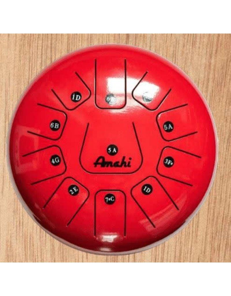 """Amahi Ukuleles Red 8"""" Steel Tongue Drum"""
