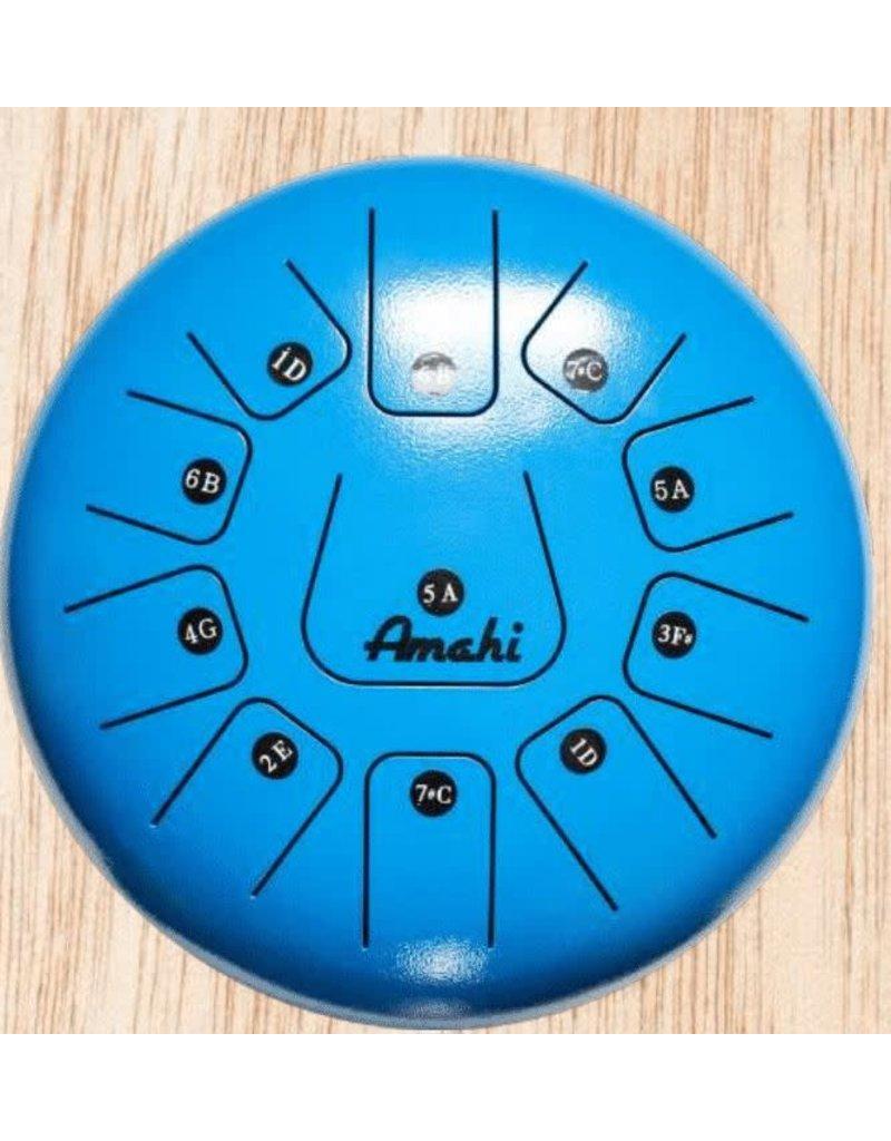 """Amahi Ukuleles Blue 8"""" Steel Tongue Drum"""