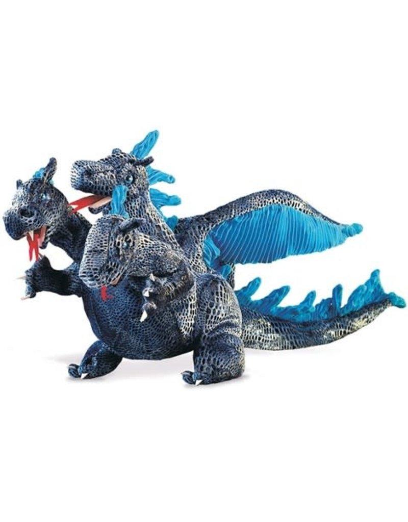 Folkmanis Blue Three Headed Dragon Puppet