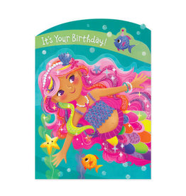 Mermaid Tri-Fold  Birthday Card