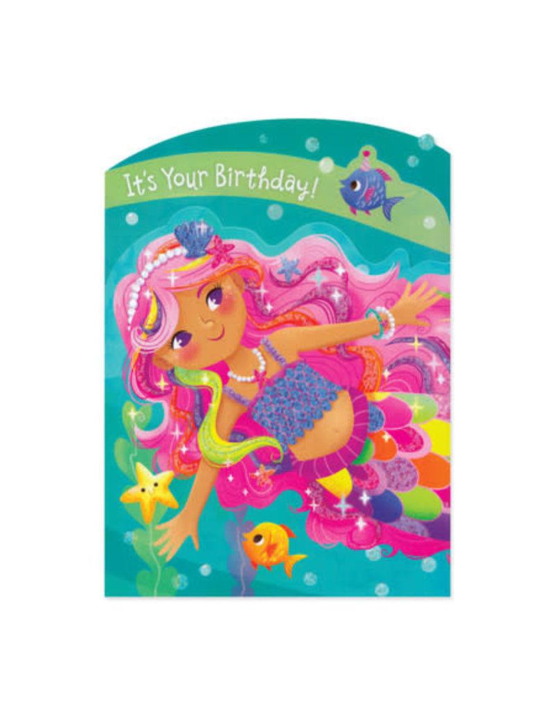 Mermaid Tri-Fold  Birthday Card