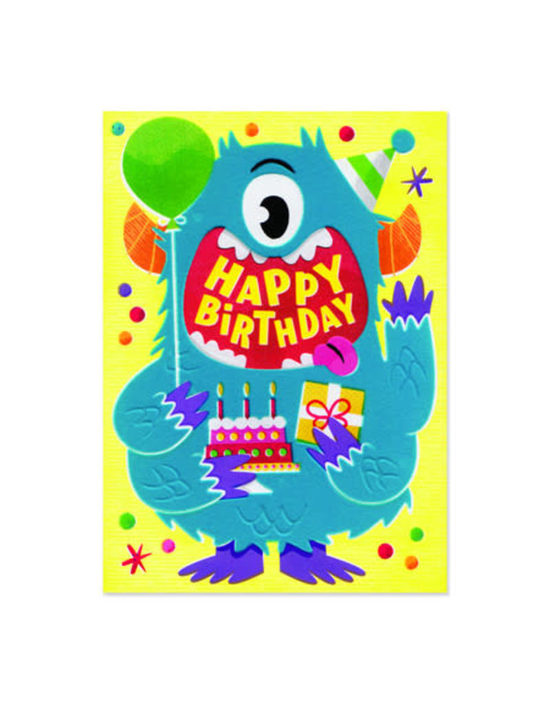 Peaceable Kingdom Blue Monster Flocked Birthday Card