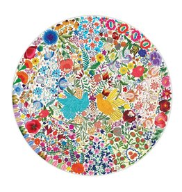 Eeboo Blue Bird Yellow Bird 500pc Round Puzzle