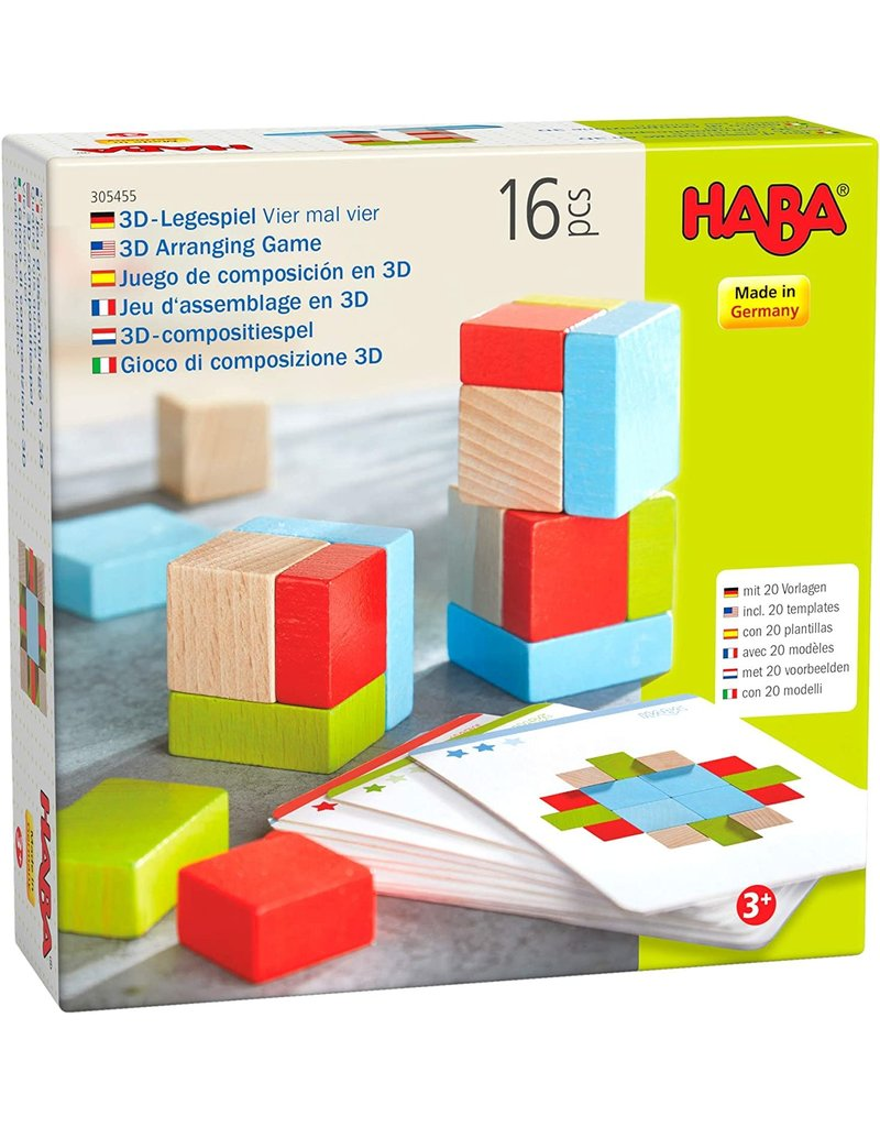 Haba USA Four By Four Wooden Blocks Game