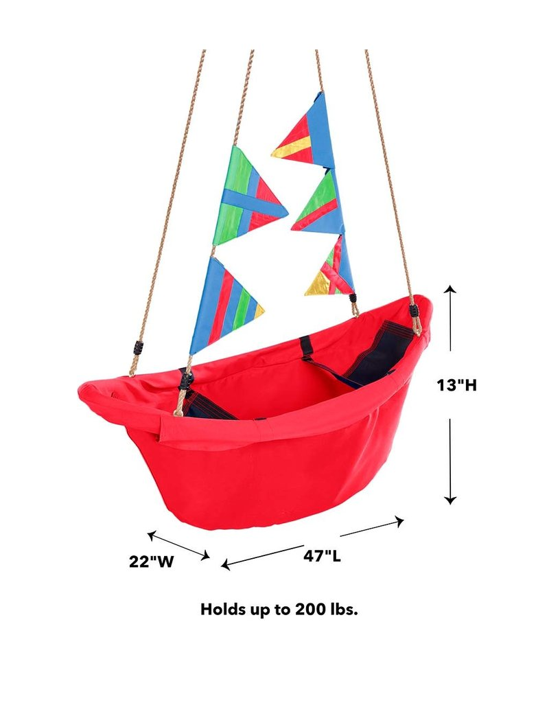 HearthSong Regatta Boat Swing red