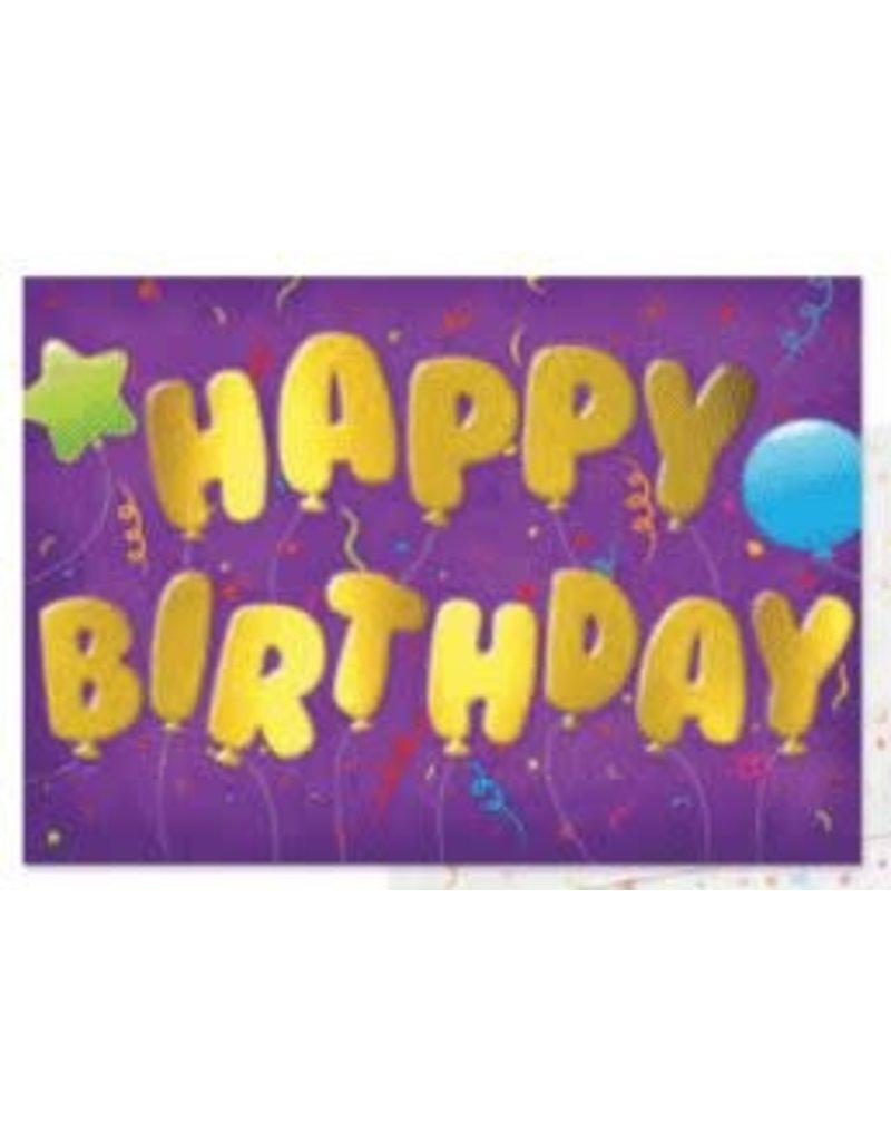 Peaceable Kingdom Happy Birthday Gold Mylar Balloon Card