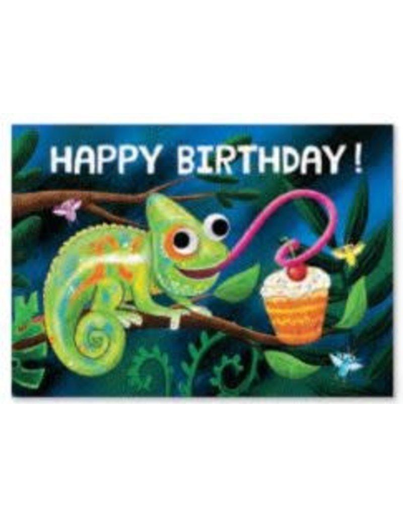 Peaceable Kingdom Happy Birthday Googly Eye: Chameleon Card