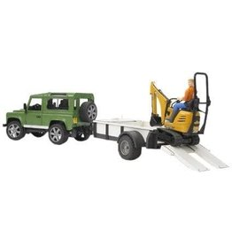 Bruder Land Rover w trailer, JCB Micro Exc. and worker