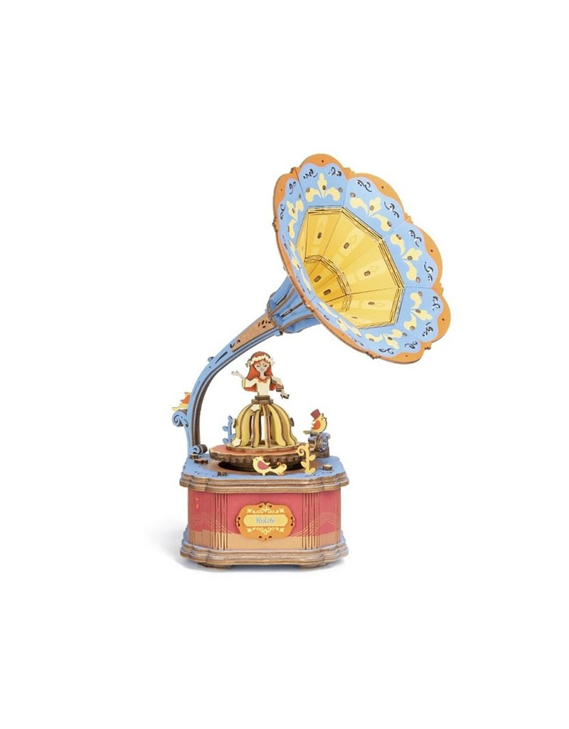 Hands Craft DIY 3D Wooden Puzzle Music Box: Vintage Gramophone