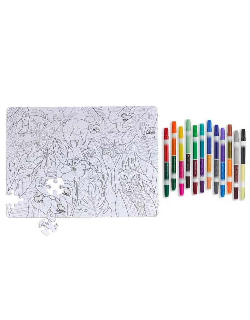 Faber-Castell Jungle Animals Color by Number Puzzle 100 pc