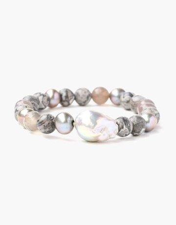 CHAN LUU Grey Onyx Bracelet w/ Stones
