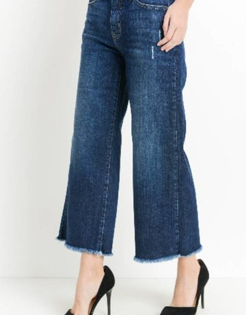 JUST BLACK DENIM Frayed Crop Wideleg~Dark