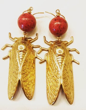 Twiga Cicada Gold Drops  Round Coral