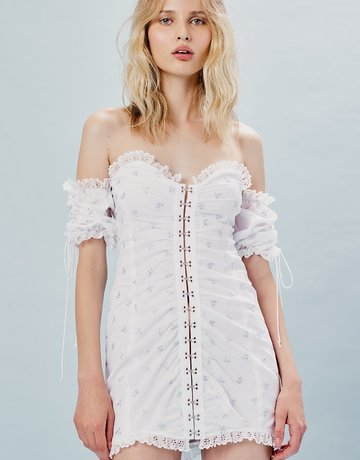 FOR LOVE AND LEMONS Magnolia Mini Dress White
