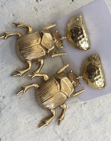 Twiga Scarab Beetle Gold Drops Stud