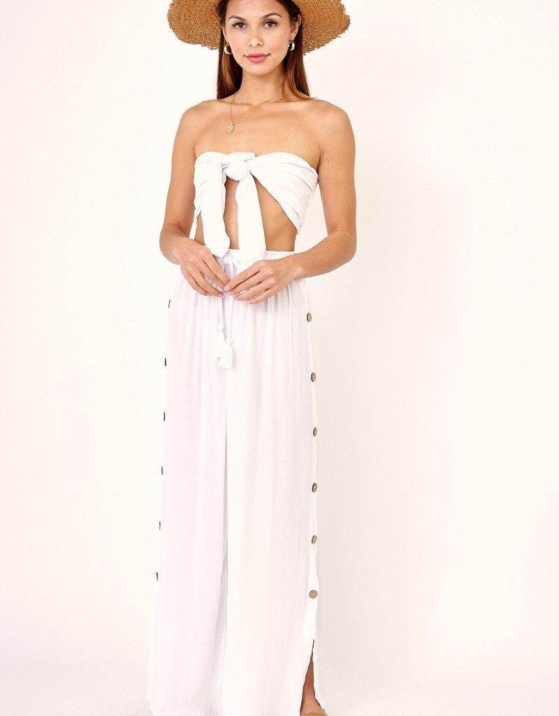 OLIVACEOUS Sage Tie Top ~ White & Mint Stripe