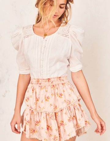 LOVESHACKFANCY Ruffle Mini Skirt Scallop Shell