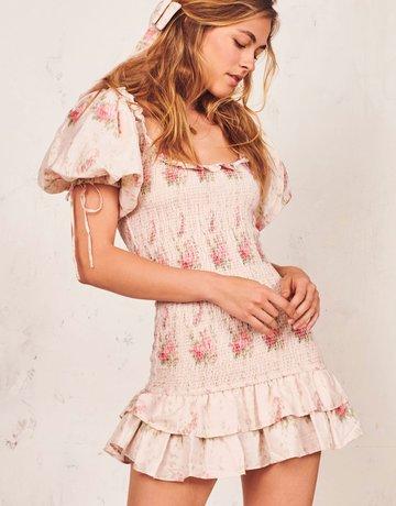 LOVESHACKFANCY Violet Dress Floral Cream