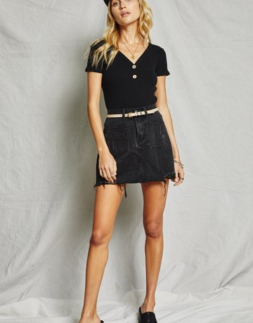SAGE THE LABEL Marta Black Mini Skirt