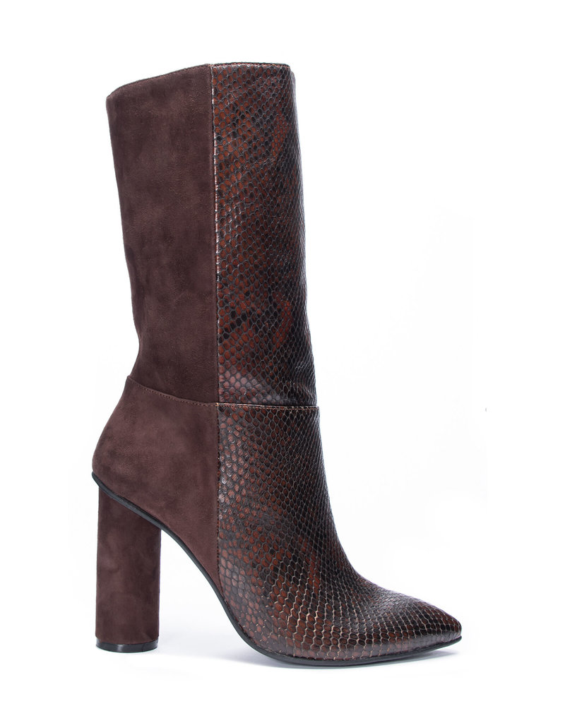 CHINESE LAUNDRY Kolby Snake Suede Boot Brunette