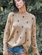 WOODEN SHIPS Mini Skull Sweater Cashew