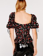 FOR LOVE AND LEMONS Tainted Button Front Top Rose
