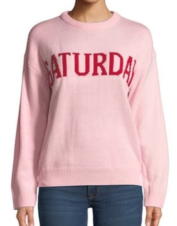 ENGLISH FACTORY Saturday Motif Sweater Pink