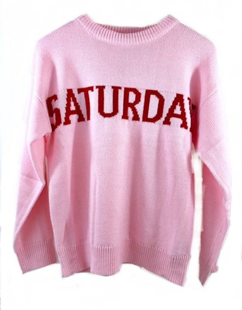 ENGLISH FACTORY Saturday Motif Sweater Pink