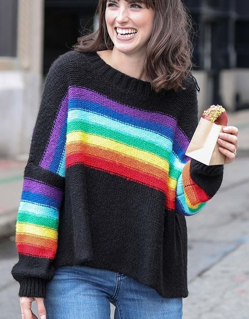 WOODEN SHIPS Rainbow Crewneck Sweater Black