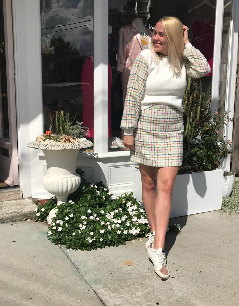 ENGLISH FACTORY Checkered Sleeve White Sweater