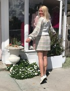 ENGLISH FACTORY Checkered White H-Line Miniskirt