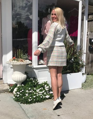 ENGLISH FACTORY Checkered White H-Line Miniskirt