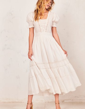 LOVESHACKFANCY Ayla Dress Antique White
