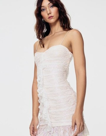 FOR LOVE AND LEMONS Rodin Iridescent Mini Dress White